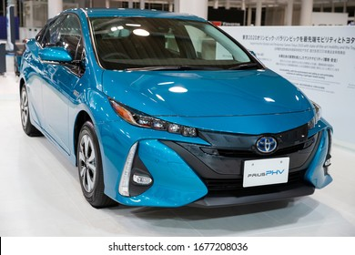 Tokyo/Japan March 5, 2020 Toyota Prius Prime. The Toyota Prius  is a full hybrid electric automobile developed and manufactured by Toyota since 1997.