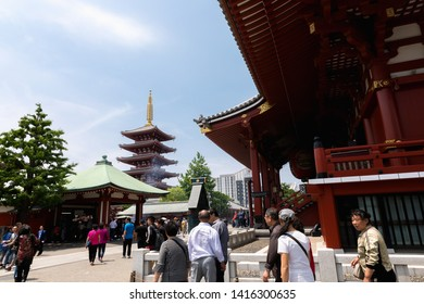 TOKYO,JAPAN - MAY 12,2019 : Asakusa Sensoji Temple is one of Tokyo Landmark and it's the most significant Buddhist temples located in Asakusa area.