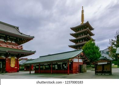 Tokyo,Japan - Nov 21 2018 Sensoji Temple or Asakusa Kannon Temple Before raining.