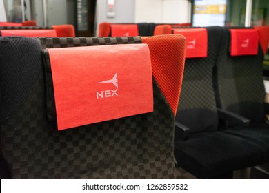TOKYO,JAPAN : November 7, 2018 : Logo of Narita Express on a seat inside NEX,The high speed Narita Express international airport access train (NEX) by JR East connects Narita Airport to Central Tokyo.