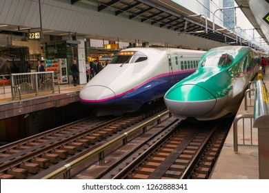 TOKYO,JAPAN : November 7, 2018 :Shinkansen Hayabusa train and other preparing for departure at Tokyo Station.The Shinkansen is a network of high-speed railway lines operated by Japan Railways Group.