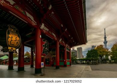 Tokyo,Japan - Oct 28 2018 Sensoji Temple or Asakusa Kannon Temple with Tokyo Skytree Before raining.