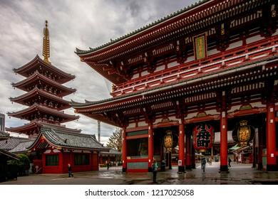 Tokyo,Japan - Oct 28 2018 Sensoji Temple or Asakusa Kannon Temple Before raining.