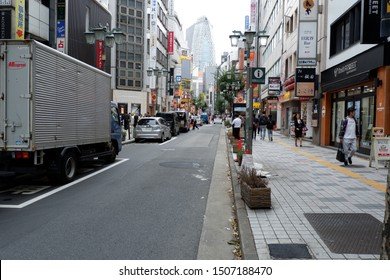 Tokyo/Japan - SEPTEMBER 14, 2019: Cityscape of Shinjuku 3 Chome area. This commercial area is located in the souther side of Shinjuku ward.