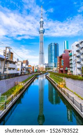Tokyo,Japan -  September 26, 2019:Tokyo Skytree is a broadcasting and observation tower in Sumida, Tokyo, Japan. It became the tallest structure in Japan in 2010 and reached its full height of 634m.