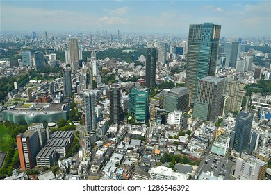 Tokyo,Japan-08 26 2018:The Tokyo urban skyline view from the Mori tower observatory deck in the Roppongi hills district.