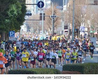 Tokyo/Japan_February 24, 2013:a large number of general runners running at the Tokyo Marathon