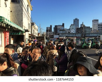TOKYO,JAPAN-DECEMBER 20,2014:Outside line of 'SUSHI DAI' one of the most popular and famous restaurant in 'TSUKIJI' fish market