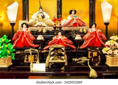 Tokyo,Japan-January 31,2015: A beautiful set up of traditional dolls for Hina Matsuri Festival.