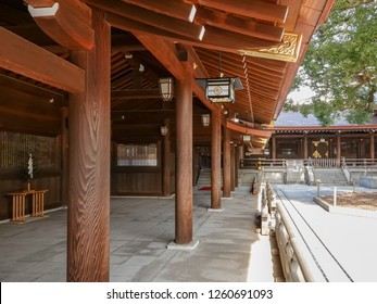 TOKYO,JAPAN-NOV 26: Meiji Shrine facade on November 26,2018 in Tokyo, It is the Shinto shrine that is dedicated to the deified spirits of Emperor Meiji and his wife, Empress Shoken.