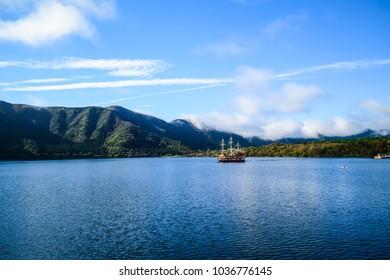 Tokyo,Japan-November 9,2016 :The Hakone Sightseeing Cruise (Hakone Pirate Ship) on the Ashinoko Lake with Mt. Fuji and a big red Torii (Gate to shrine) as background. Photoed in Hakone, Japan.