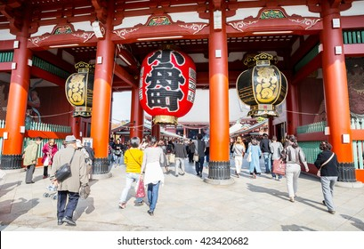 TOKYO-NOV 06: Crowded people heading to the Buddhist Temple Sensoji on November 06, 2015 in Tokyo, Japan. The Sensoji temple in Asakusa area is the oldest temple in Tokyo.