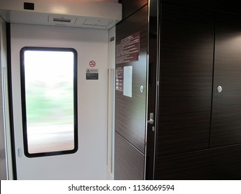Tokyo-October 21,2017: E657 Series Door (Train Number K4) on Tokiwa 61 Limited Express to Katsuta. This Train is Operating on Joban Line Rapid Service as Ltd. Exp. Train
