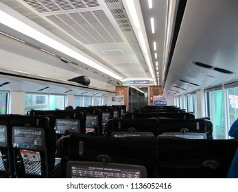 Tokyo-October 21,2017: E657 Series Ordinary Class Interior (Train Number K4) on Tokiwa 61 Limited Express to Katsuta. This Train is Operating on Joban Line Rapid Service as Ltd. Exp. Train