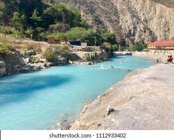 TOLANTONGO, MEXICO - May 30, 2018: Blue waters of the Tolantongo river in the Mezquital Valley, State of Hidalgo, Mexico.