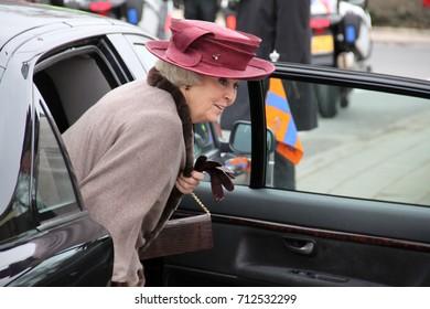 TOLDIJK, MARCH 1, 2013: Queen Beatrix regnant of the Kingdom of the Netherlands visits village Toldijk