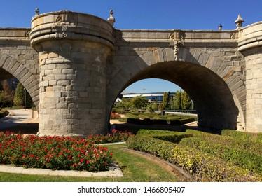 Toledo Bridge, 18th century, in Madrid Rio Park, Madrid, Spain