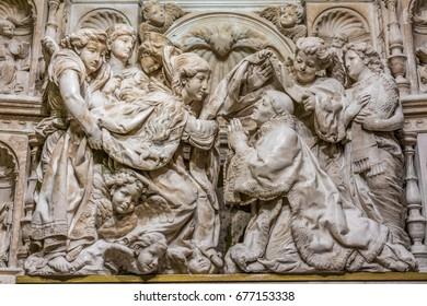 Toledo, Castille la Mancha, Spain - April 04, 2017: Saint Ildefonsus Receiving the Chasuble from the Virgin Mary. Descension Chapel  (Capilla de la descension) Toledo Cathedral