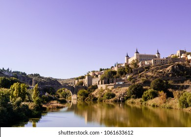 Toledo city, Panoramic of historic buildings with blue sky. Castilla la Mancha. Spain