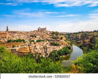 Toledo Cityscape, Panoramic View of Old Town City in Spain