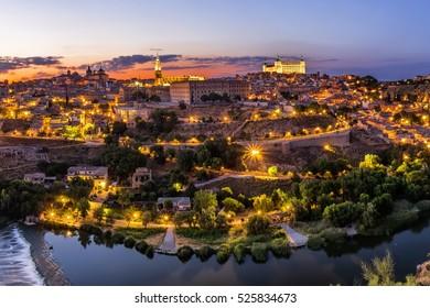 Toledo cityscape at sunset. Toledo, Spain.