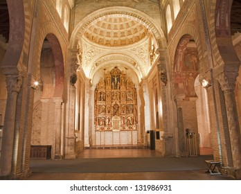 TOLEDO - MARCH 8: Nave and altar of San Roman church has a steeple built in the mudejar architectural style in the 13th cent. on March 8, 2013 in Toledo, Spain.