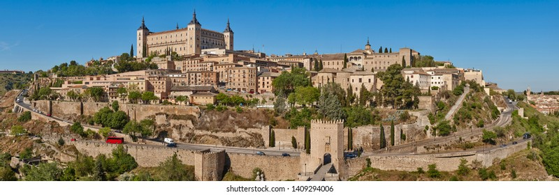 Toledo medieval city panoramic view. Spanish unesco traditional old town