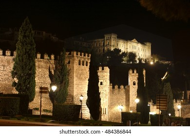 Toledo medieval wall night, Night shot of the walls of Fernando VI in Toledo, Castilla La Mancha, Spain, lit building, building illuminated background of Toledo,