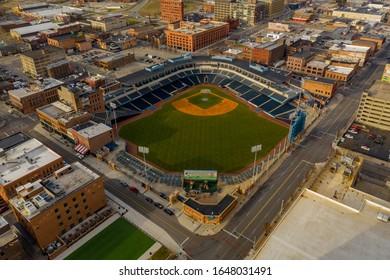 TOLEDO, OH, USA - JANUARY 7, 2020: Hensville Park Toledo Ohio USA aerial photo