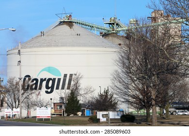 TOLEDO, OH-MAY, 2015:  Large grain agricultural silos owned by Cargill, the largest privately owned corporation in the United States.  Cargill employs over 150,000 people.