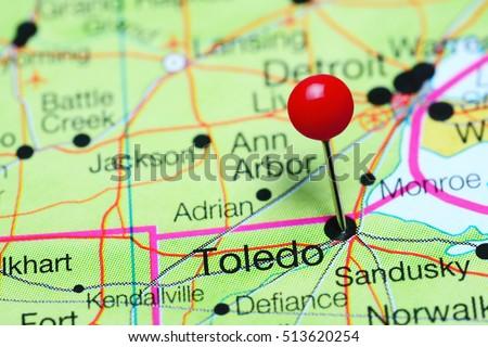 Map Of Ohio Usa.Toledo Pinned On Map Ohio Usa Stock Photo Edit Now 513620254