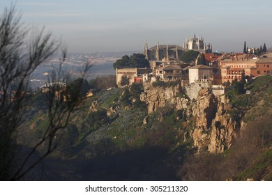 Toledo, seen from the Mirador del Valle, cliffs of river tagus, Castilla La Mancha, Spain, view medieval monuments, seminar, Jesuit church, San Ildefonso, Gothic Cathedral.