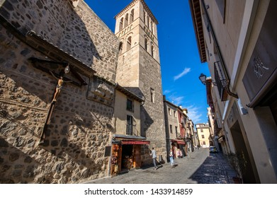 Toledo / Spain - April 29 / 2019 : extrnal view of church of santo tome