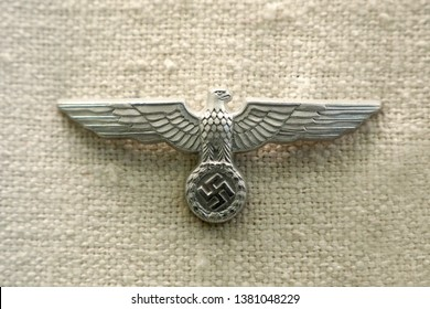 Toledo, Spain - April 7,2019: A display of a military badge from World War II era display on white background