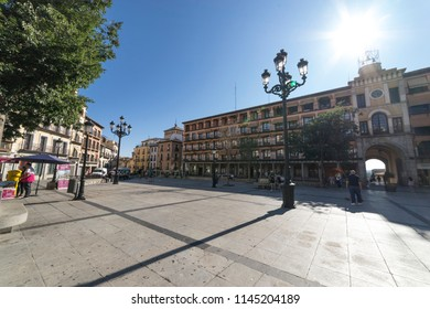 TOLEDO, SPAIN - JULY 28, 2018: Cityscape. People in Plaza de Zocodover in Toledo It is the main square where the groups of tourists gather