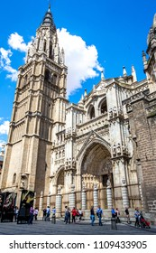 TOLEDO, SPAIN - JUNE 1, 2014:Toledo Cathedral in Toledo, Spain.The Primate Cathedral of Saint Mary of Toledo, 13th century high gothic cathedral of Toledo, Spain
