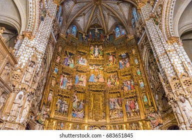 TOLEDO, SPAIN - JUNE 28, 2016: Interior of Toledo Cathedral in the Historic City of Toledo. The Historic City of Toledo is a UNESCO World Heritage Site.
