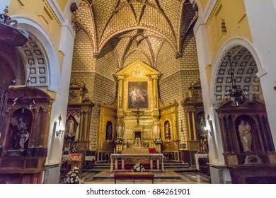 TOLEDO, SPAIN - JUNE 28, 2016: Interiors of the Iglesia de Santo Tome in the Historic City of Toledo. The Historic City of Toledo is a UNESCO World Heritage Site.