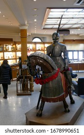 TOLEDO, SPAIN - MAR 2, 2020 - Mounted medieval knight in armor, Toledo, Spain