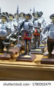 TOLEDO, SPAIN - MAR 2, 2020 -Crusader knights in white tunic, Toledo, Spain
