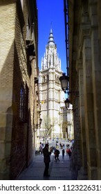 TOLEDO, SPAIN - MARCH 28, 2018: the Bell Tower of Toledo's Cathedral. Toledo was declared a World Heritage Site by UNESCO in 1986 for its extensive monumental and cultural heritage.