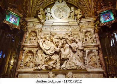 TOLEDO, SPAIN - MARCH 28, 2018: Interior design of the Primate Cathedral of Saint Mary of Toledo. High Gothic cathedral and a UNESCO World Heritage Site.