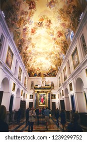TOLEDO, SPAIN - MARCH 28, 2018: Ceiling fresco by Luca Giordano in the Primate Cathedral of Saint Mary of Toledo, a UNESCO World Heritage Site.