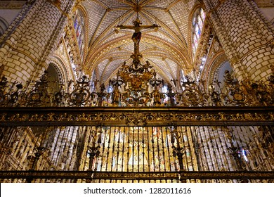 TOLEDO, SPAIN - MARCH 28, 2018: The retable in the interior of the Primate Cathedral of Saint Mary of Toledo, a Roman Catholic 13th-century High Gothic cathedral and a UNESCO World Heritage Site.