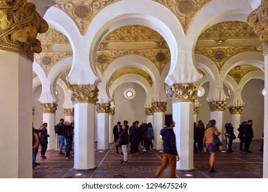 TOLEDO, SPAIN - MARCH 28, 2018: Synagogue of Santa María la Blanca. Originally known as the Ibn Shushan Synagogue, it is disputably considered the oldest synagogue building in Europe still standing.