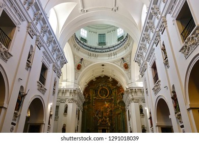 TOLEDO, SPAIN - MARCH 29, 2018: Interior of the Iglesia de San Ildefonso church. It is a Baroque style church  located in the center of the historic city of Toledo, in Castile-La Mancha, Spain.