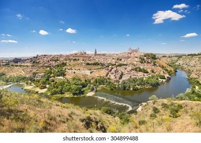 Toledo, Spain, scenic view of famous Toledo skyline.
