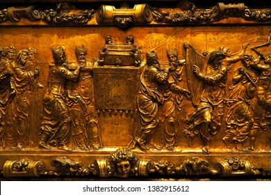 Toledo,Spain-April 7,2019: A beautiful ancient low relief on brass inside Santa Iglesia Cathedral Primada de Toledo depicting image of the Israelites carrying Ark of Testimony or Ark of Convenant.