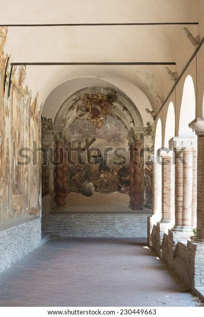 TOLENTINO, ITALY - JULY 17, 2014: cloister of the historic San Nicola church, with frescos