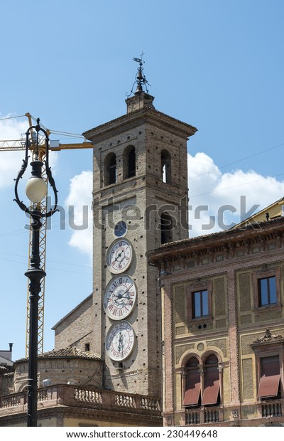 Tolentino (Macerata, Marches, Italy): historic tower with three clocks